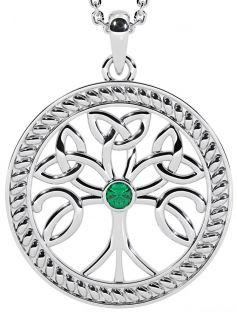 """Tree of Life"" Silver Emerald Celtic Pendant Necklace"