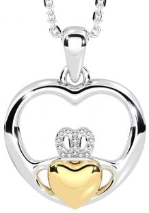 "14K Two Tone Gold Silver Claddagh ""Heart"" Pendant"
