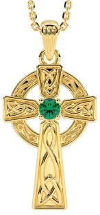 "14K Gold coated Silver Emerald Irish ""Celtic Cross"" Pendant Necklace"