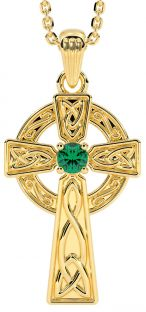 "Gold Genuine Emerald .10cts ""Celtic Cross""  Pendant Necklace"