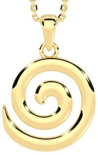 Yellow Gold Celtic Spiral Pendant Necklace