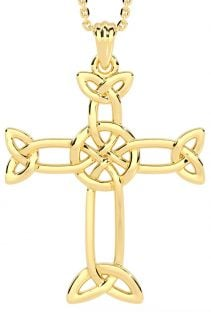 "14k Gold Solid Silver Irish ""Celtic Cross"" Pendant"