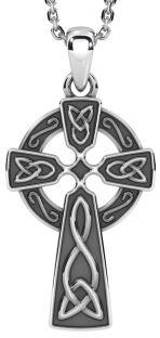 "14k White Gold Solid Silver Irish ""Celtic Cross"" Pendant"