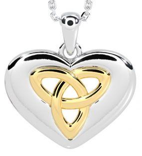 "14K Two Tone Gold Solid Silver Irish ""Celtic Knot"" Heart Pendant"