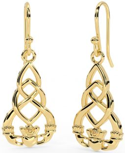 "14K Yellow Gold Solid Silver Celtic ""Claddagh"" Earrings"