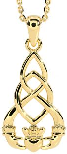 """14K Gold Solid Silver Celtic """"Claddagh"""" Pendant Necklace"""