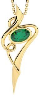 14K Gold Silver Emerald Celtic Pendant