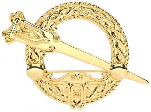 """14K Yellow Gold Solid Silver Celtic """"Ardagh"""" Brooch"""
