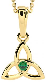 """Gold Genuine Emerald .06cts """"Celtic Knot"""" Pendant Necklace - May Birthstone"""