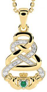 "White & Yellow Gold Genuine Diamond .015cts Genuine Emerald .02cts Irish ""Claddagh"" Pendant Necklace (Default)"