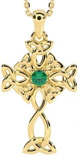 "14K Yellow Gold Genuine Emerald .03cts Irish ""Celtic Cross"" Pendant Necklace"