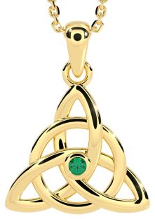 """14K Gold coated Solid Silver Genuine Emerald .03ct Irish """"Celtic Knot"""" Pendant Necklace"""