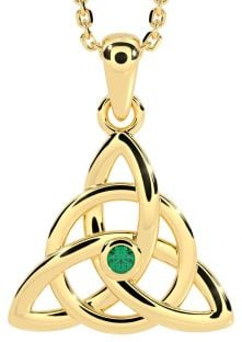 "Gold Genuine Emerald .03cts Irish ""Celtic Knot"" Pendant Necklace"