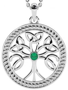 """Tree of Life"" White Gold Emerald .1cts Celtic Pendant Necklace"