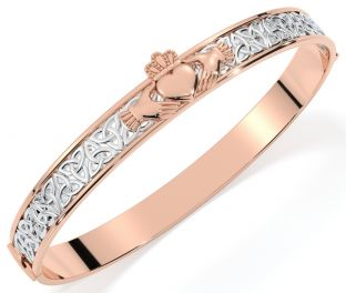 14K Two Tone Rose & White Gold Solid Silver Claddagh Celtic Knot Bracelet