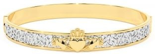 """14K Two Tone Gold Solid Silver """"Claddagh"""" Celtic Knot Bracelet"""
