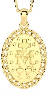 """14K Gold Silver Celtic """"Miraculous Mary Medal"""" Pendant Necklace"""