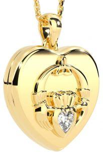 "14K Yellow Gold Solid Silver Irish ""Claddagh"" Heart Locket Pendant"