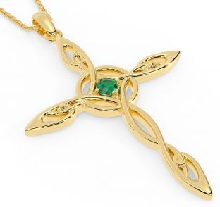 "14K Gold Solid Silver Emerald Irish ""Celtic Cross"" Pendant"