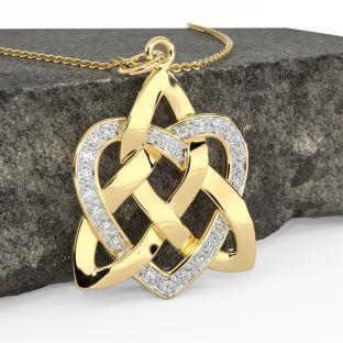 Diamond Gold Silver Celtic Knot Heart Pendant Necklace