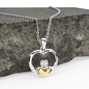 14K Two Tone Gold Solid Silver Claddagh Heart Pendant Necklace