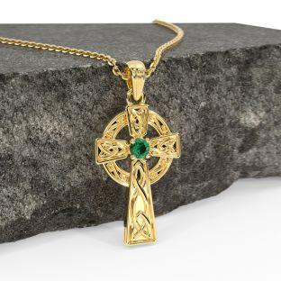 "14K Gold coated Silver Emerald Irish ""Celtic Cross"" Pendant Necklace"