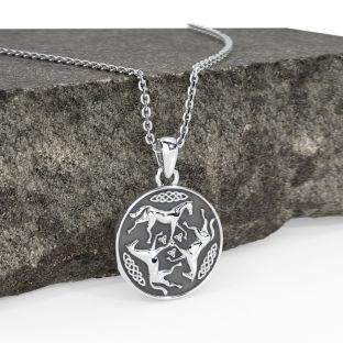 Silver Celtic Horse Pendant Necklace
