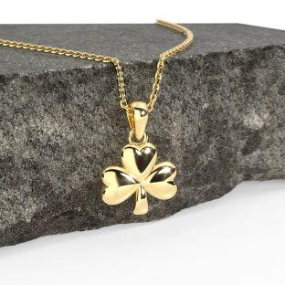 Gold Irish Shamrock Pendant  Necklace Charm