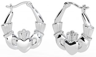 "Silver Irish ""Claddagh"" Hoop Earrings"