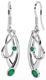 Silver Emerald Celtic Earrings