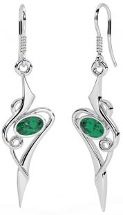 Emerald Silver Celtic Earrings