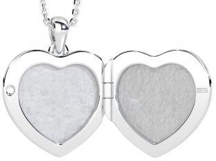 Silver Diamond Claddagh Heart Locket Pendant Necklace