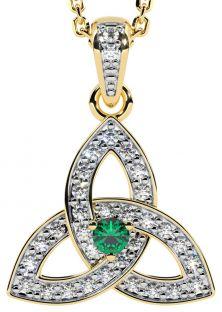 "14K Two Tone Gold Genuine Diamond .15cts Genuine Emerald .10cts ""Celtic Knot"" Pendant"