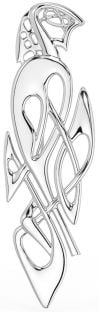 "Silver Irish ""Celtic Swan"" Brooch Pin"