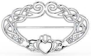 Silver Celtic Claddagh Brooch Pin