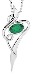 14K White Gold Solid Silver Emerald Celtic Pendant