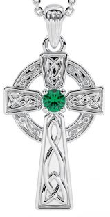 "White Gold Genuine Emerald .10cts ""Celtic Cross""  Pendant Necklace"