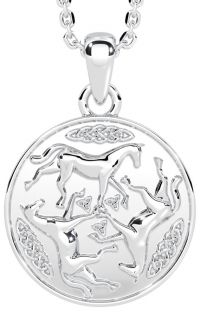 """14K White Gold Solid Silver """"Celtic Horse"""" Pendant Necklace"""