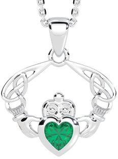 "Silver Emerald Celtic ""Claddagh"" Pendant"