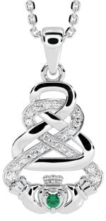 "White Gold Genuine Diamond .015cts Genuine Emerald .02cts Irish ""Claddagh"" Pendant Necklace"