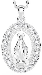 """White Gold Celtic """"Miraculous Mary Medal"""" Pendant Necklace"""