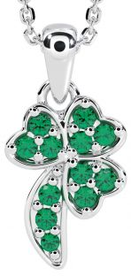 "Silver Emerald Irish ""Shamrock"" Pendant"