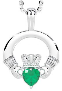 "White Gold Emerald Irish ""Claddagh"" Pendant Necklace"