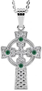 "14K White Gold Solid Silver Emerald Irish ""Celtic Cross"" Pendant Necklace"