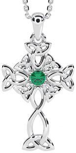 "14K White Gold Genuine Emerald Irish ""Celtic Cross"" Pendant Necklace"
