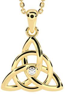 Gold Genuine Diamond .03cts Celtic Knot Pendant Necklace