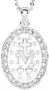 """14K White Gold Silver Celtic """"Miraculous Mary Medal"""" Pendant Necklace"""