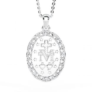 """Silver Celtic """"Miraculous Mary Medal"""" Pendant Necklace"""