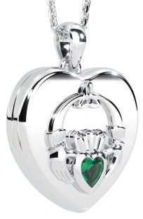 "Silver Emerald ""Claddagh"" Heart Locket Pendant"
