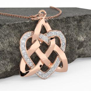 Diamond Rose Gold Silver Celtic Knot Heart Pendant Necklace